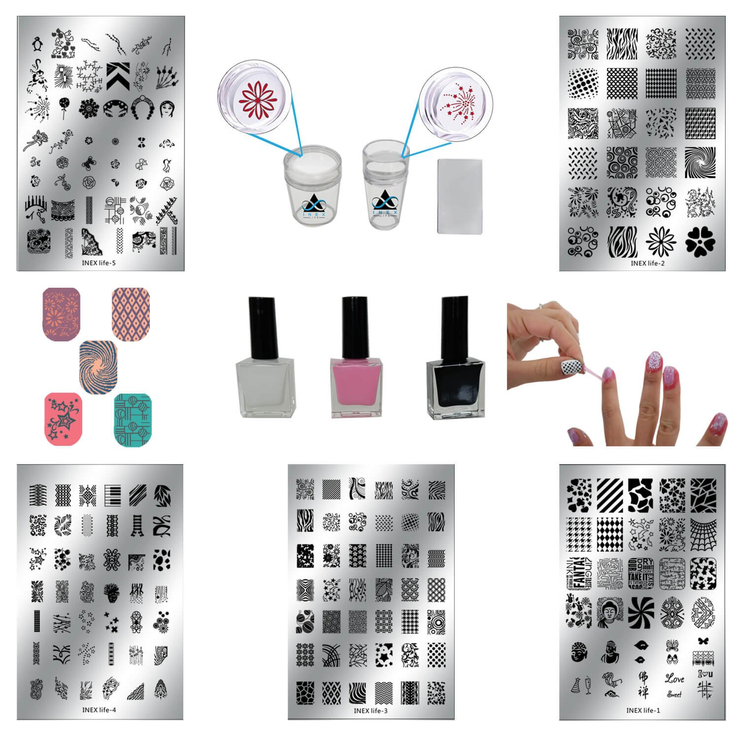 ALL-IN-ONE DIY Nail Art Stamping Kit   Latex Peel Off Liquid Tape, Black & White Nail Stamping Polish, 5 Manicure Nail Stamping Design Plates, 2 Clear Nail Stampers, and Scraper   Nail Art Tools