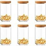 Aevlon Tea Sugar Home Kitchen Jar Wooden Lid ,1000 ml Set Of 6 Pcs