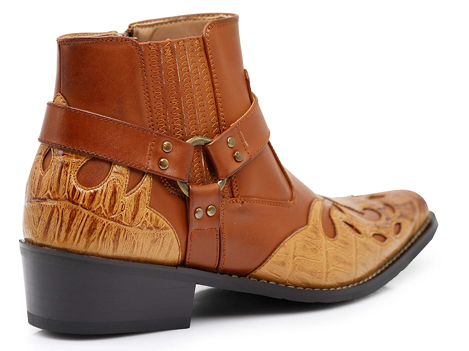 Enzo Romeo WT11 Mens Western Cowboy Motorcycle Ankle Boots
