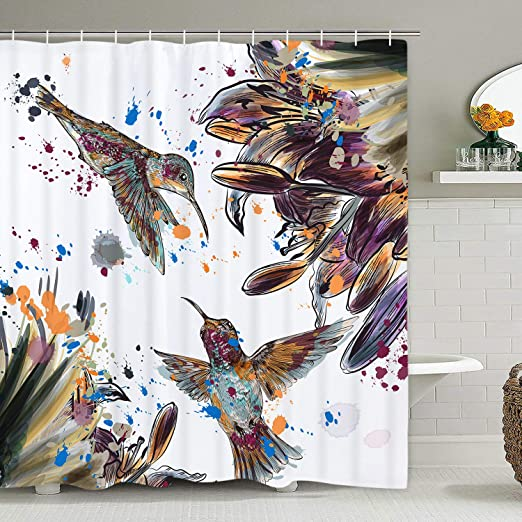 lily flowers and birds Bathroom Shower Curtain Waterproof Fabric w//12 Hooks new