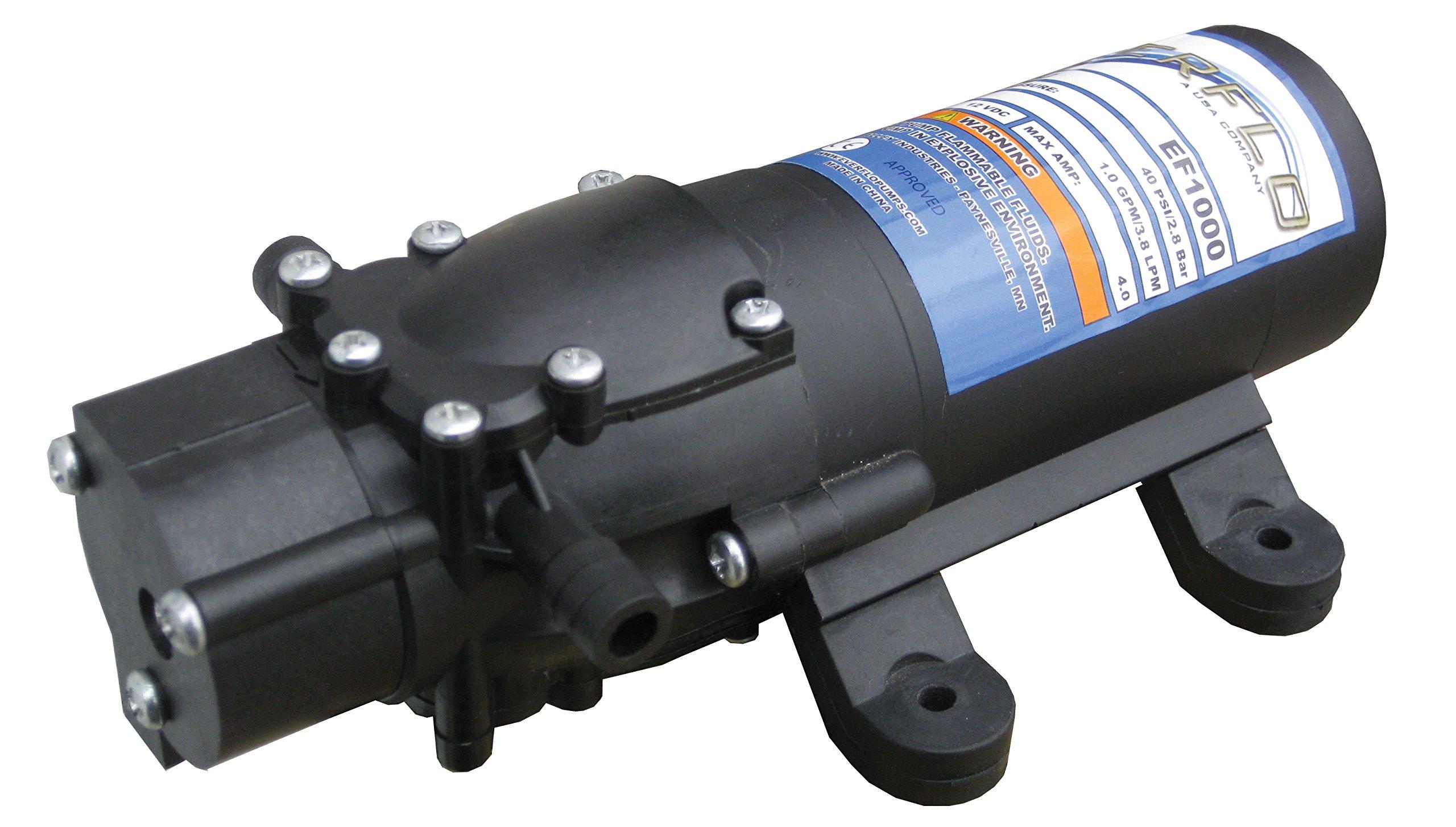Everflo 1.0 GPM 12V Diaphragm Pump with 3/8'' Hose Barb Ports