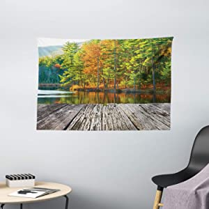 """Ambesonne Nature Tapestry, Pond in National Forest with Fresh Fall Leaves and Still Lake Inspiration Photo, Wide Wall Hanging for Bedroom Living Room Dorm, 60"""" X 40"""", Orange Green"""