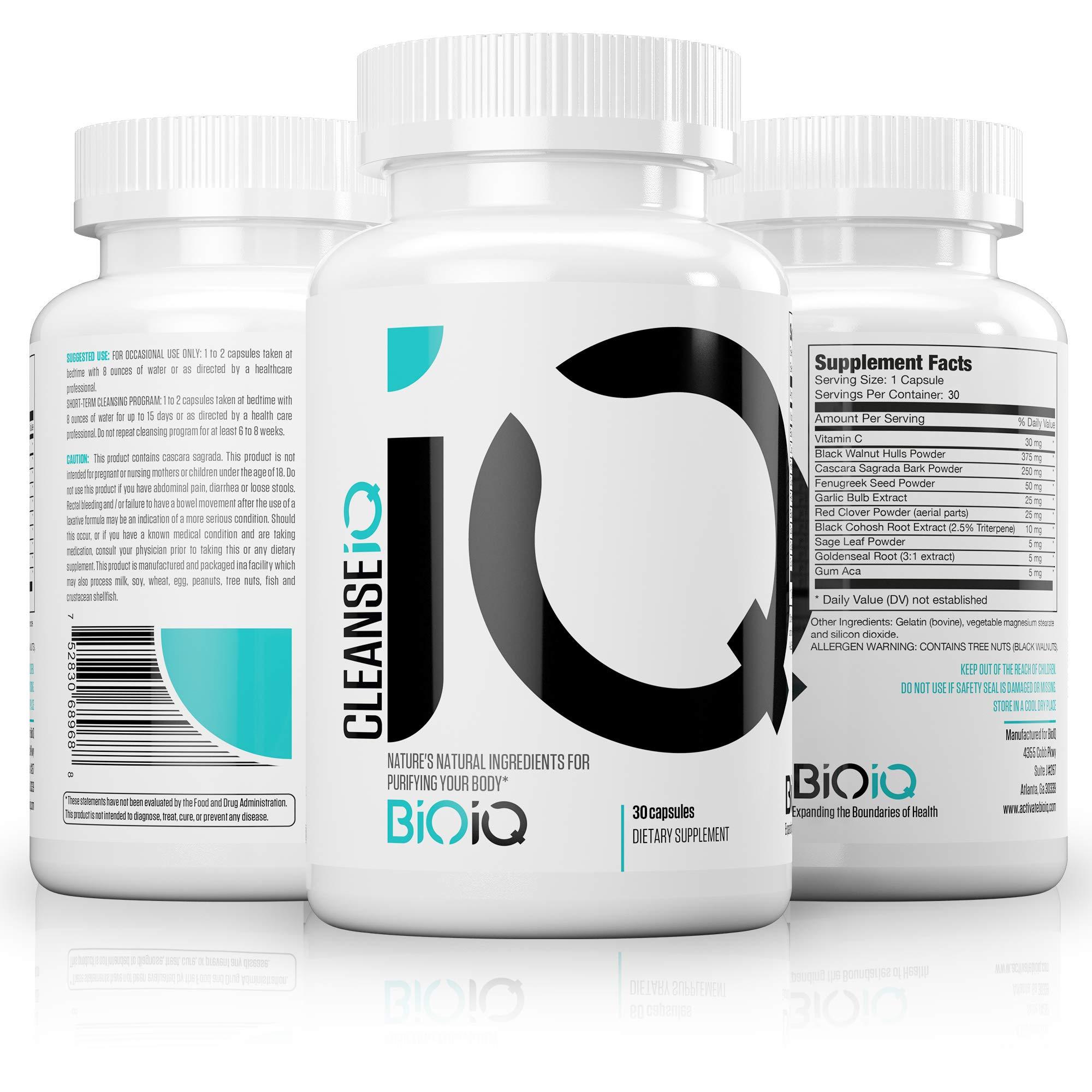 BioIQ Natural Colon Cleanse Detox – 15 Day Cleanse – Herbal Formula: Black Walnut Hull, Cascara Sagrada, Fenugreek, Black Cohosh – GMO Free, USA Supplement - Best Cleanse for Weight Loss