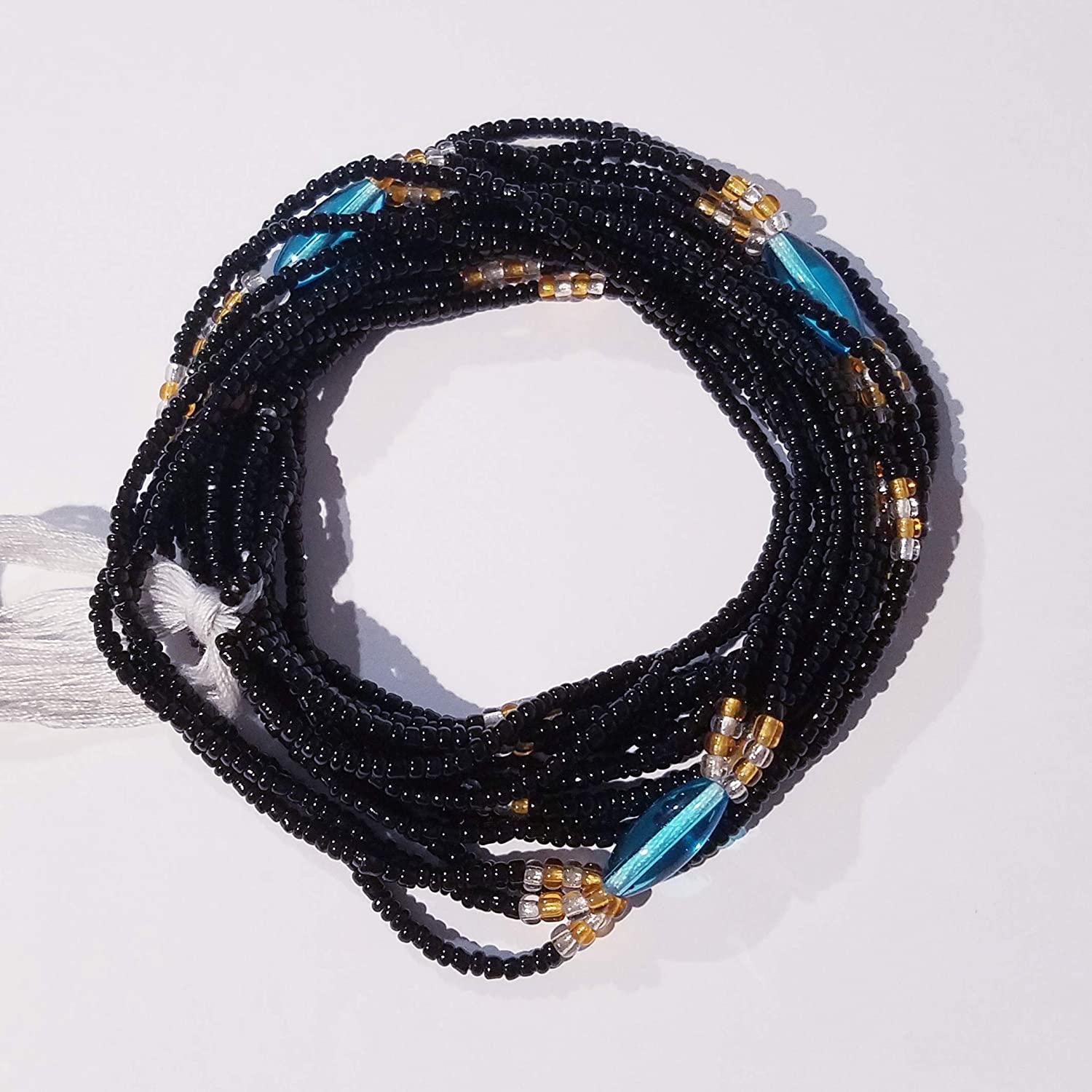 Black 3-in-1 Style African Waist Beads Tie-On Strand 42 Inch