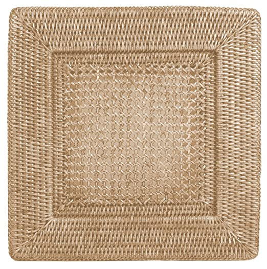 Christmas Tablescape Decor - Square natural white rattan dinner plate charger by Entertaining with Caspari