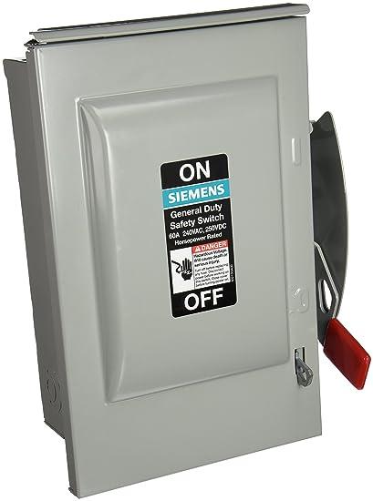 SIEMENS GNF322R 60 Amp, 3 Pole, 240-Volt, 3 Wire, Non-Fused, General ...