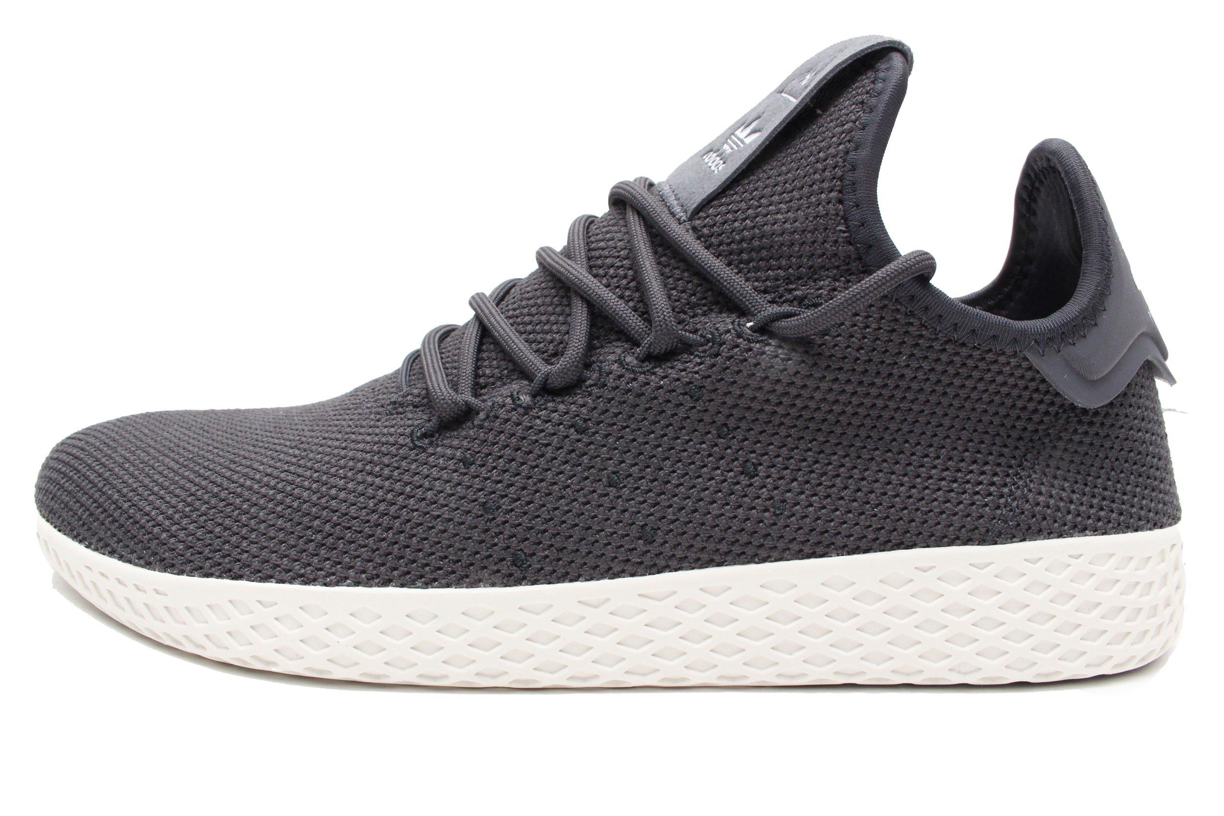 adidas Originals Men's Pharrell Williams Tennis HU Running Shoe Carbon/Chalk White, 4 Medium US