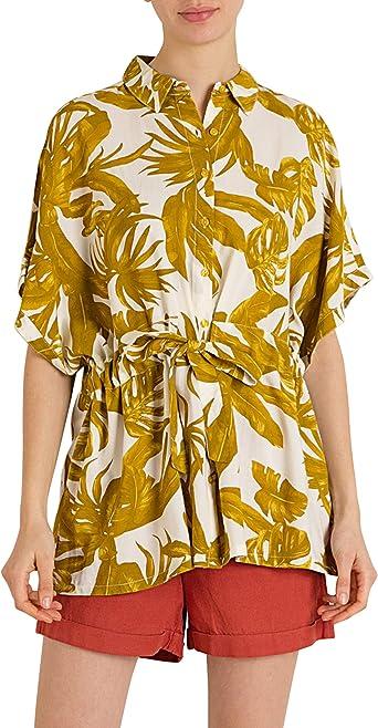 MO Camisa Mujer con Estampa Tropical Oversize - En Verde y Amarillo
