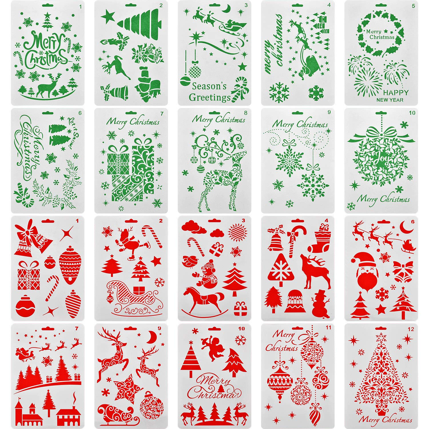 Jovitec 20 Pieces Christmas Stencils Journal Template Painting Stencil for Notebook Christmas Gift Card DIY Projects, Assorted Styles by Jovitec