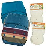 GroVia Experience Package: 2 Shells + 4 No Prep Soaker Pads (Color Mix 7 Hook & Loop)