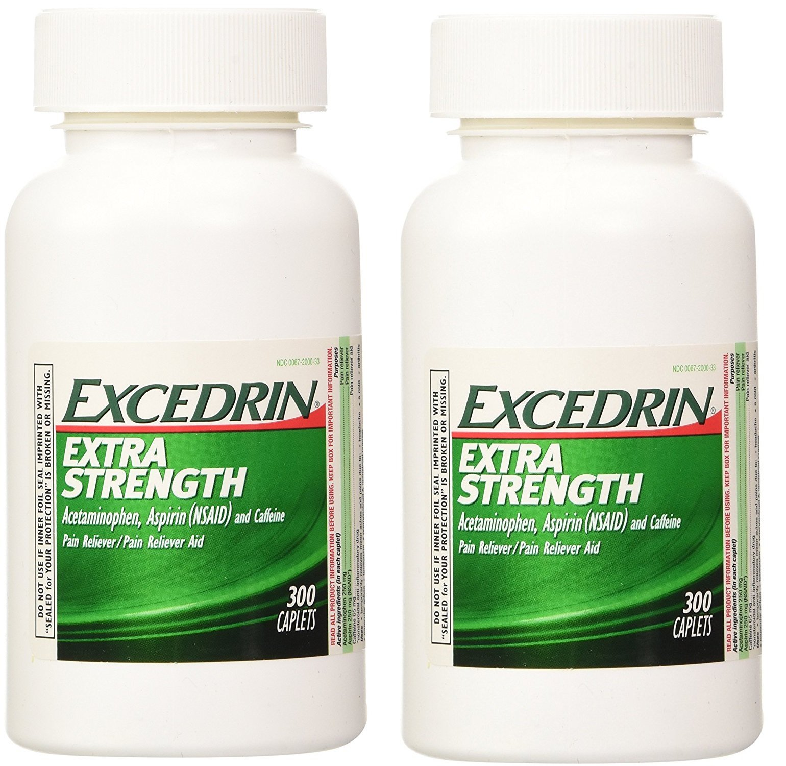 Excedrin Extra Strength Caplets, 300 Count (2 Pack) by Excedrin