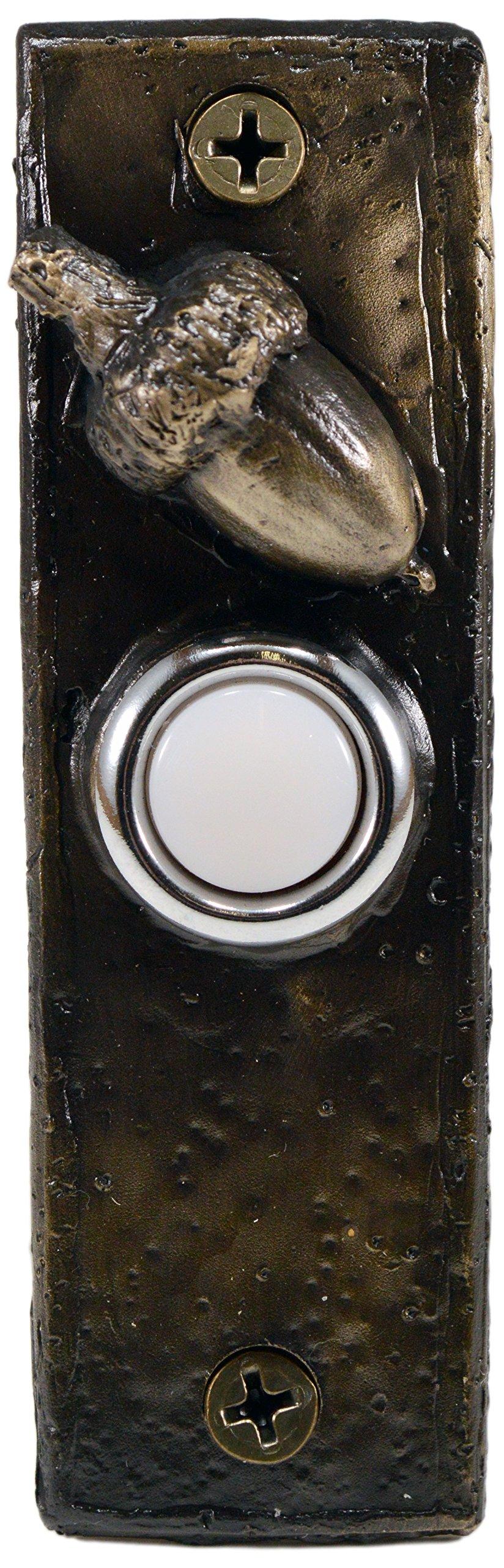 TimberBronze53 Slim with Acorn Doorbell Button, Basic Patina