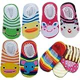 """Cren 5 Pairs Baby Girls Toddler Anti Slip Skid Socks For 0-12 Months, Length 3.54-5.9"""""""
