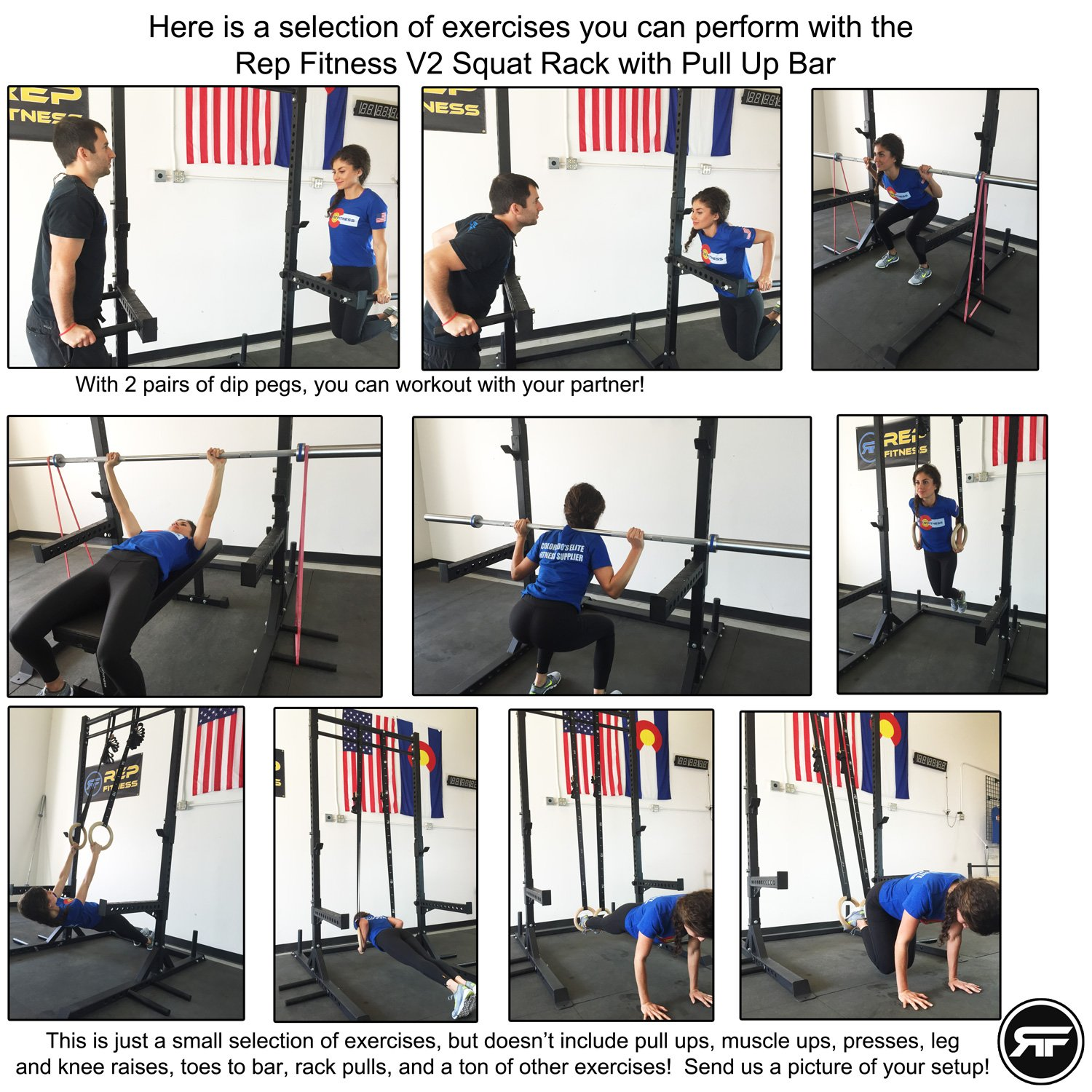 Rep Squat Rack with Pull Up Bar and Flat Bench - 110 in by Rep Fitness (Image #7)