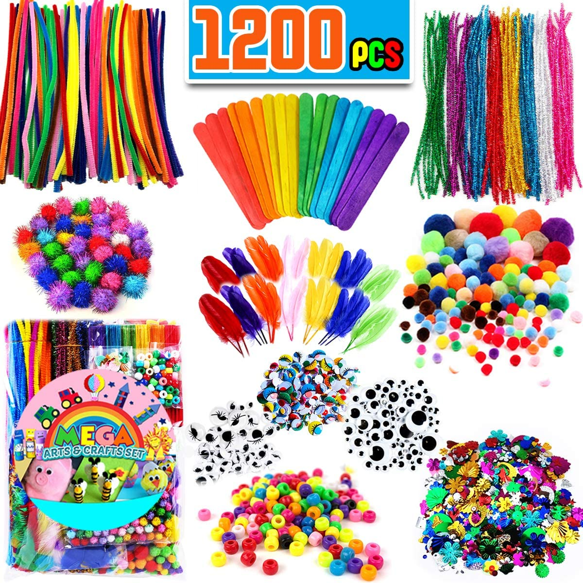 Amazon Com Funzbo Arts And Crafts Supplies For Kids Craft Art Supply Kit For Toddlers Age 4 5 6 7 8 9 All In One D I Y Crafting Collage Arts Set For Kids X Large Toys Games