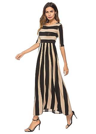 Enka Womens 12 Sleeve Casual Elastic Waist Striped Flare Long Maxi