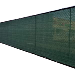 Fence4ever 4'x50' 4ft Tall 3rd Gen Olive Green Privacy Screen Windscreen Fabric Mesh Tarp w/Aluminum Grommets for Home, Garden, Yard
