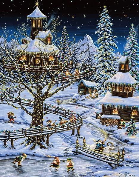 Vermont Christmas Company Calendrier de lAvent avec Spinner Liste du P/ère No/ël en Anglais