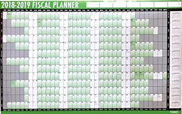 2018 2019 financial fiscal wall planner calendar with pen and adhesive dots