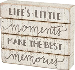 Primitives by Kathy Hand-Lettered Slat Wood Box Sign, 7 x 6-Inches, Little Moments