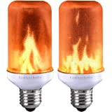 Lumiereholic LED Flame Effect Light Bulb Fire Flickering Decorative Bulbs Simulated Nature Fire Atmosphere Lamp for Christmas/Party/ Home/Garden/ Restaurant/Bar/ Halloween/Festival Decoration 2pc