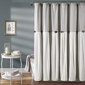 Lush Decor, Gray & White Linen Button Shower Curtain, 72