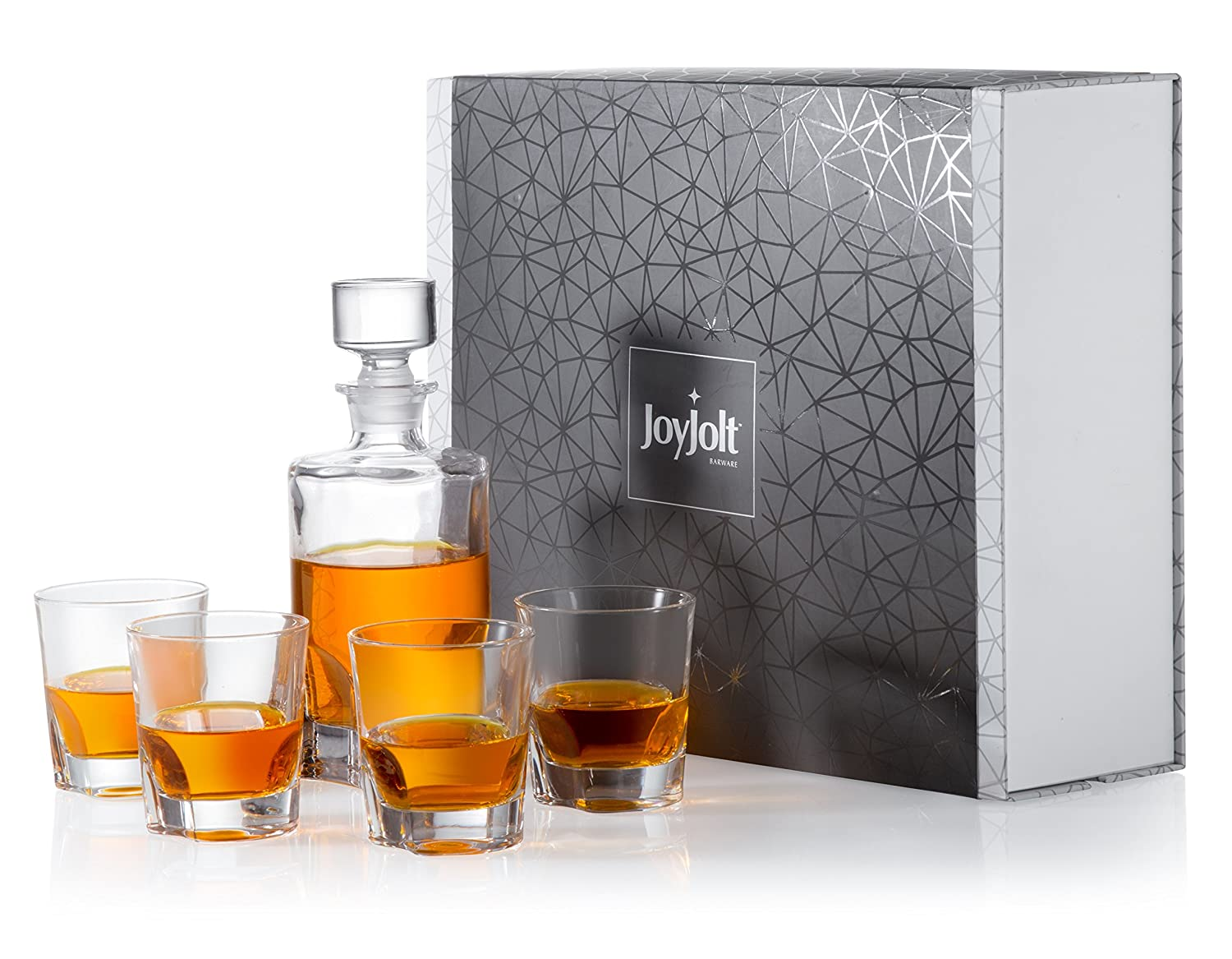 JoyJolt Carina 5 Piece Whiskey Decanter And Glass Set, 100% Lead-Free Crystal Bar Set Prefer For Scotch, Liquor, Bourbon Comes with A Whisky Decanter Sets And 4 Old Fashioned Glasses. JC102109