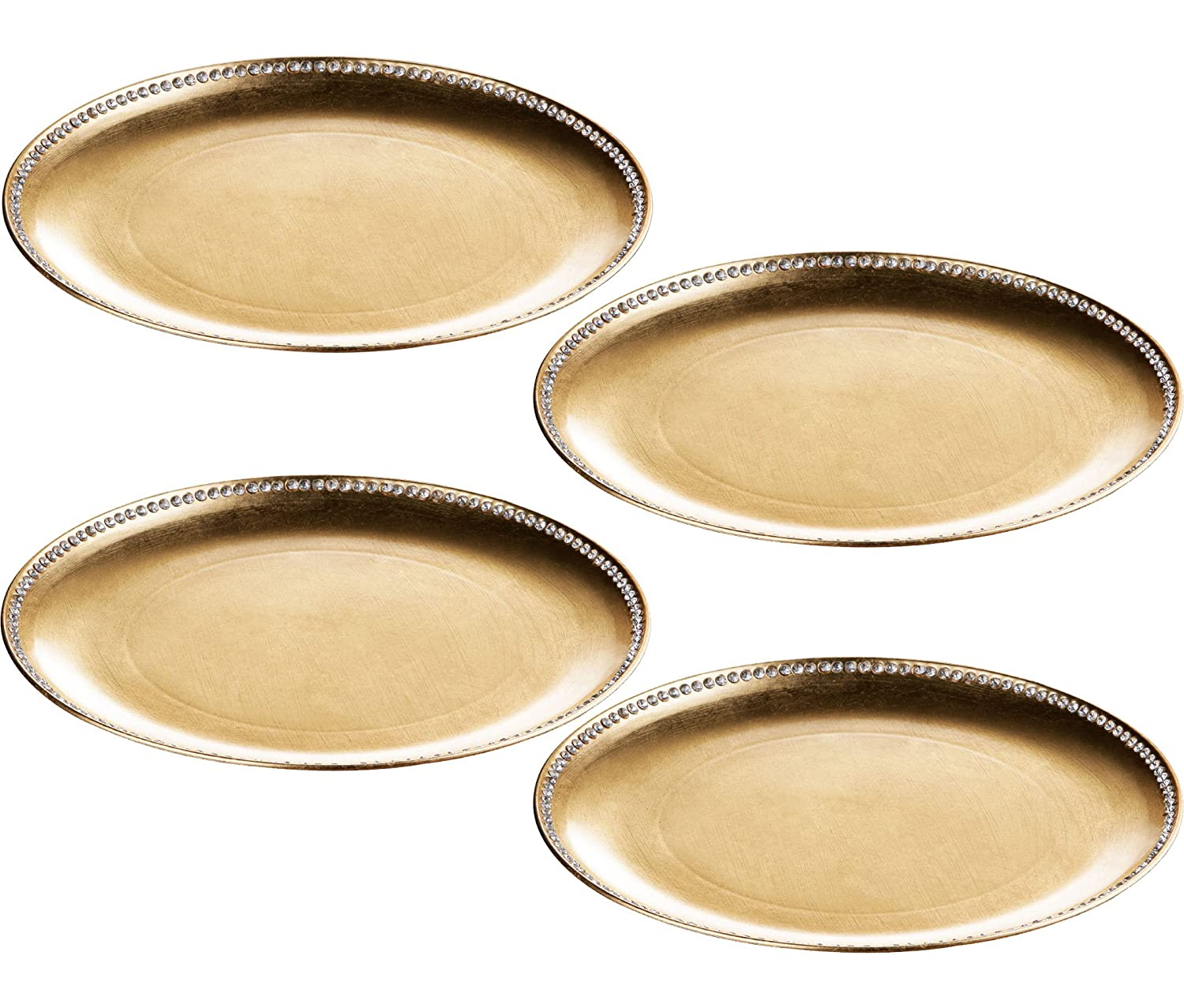 Set Of 4 Gold Radiance Diamante Edge Decorative Coupe Charger Dinner Under Table Plates