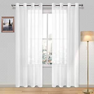 DWCN White Sheer Curtains for Living Room Voile Grommet Top Window Textured Weave Faux Linen Drapes for Bedroom 52 x 84 inches Length, Set of 2