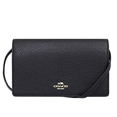 56399302 Coach Pebbled Leather Foldover Clutch Crossbody Bag