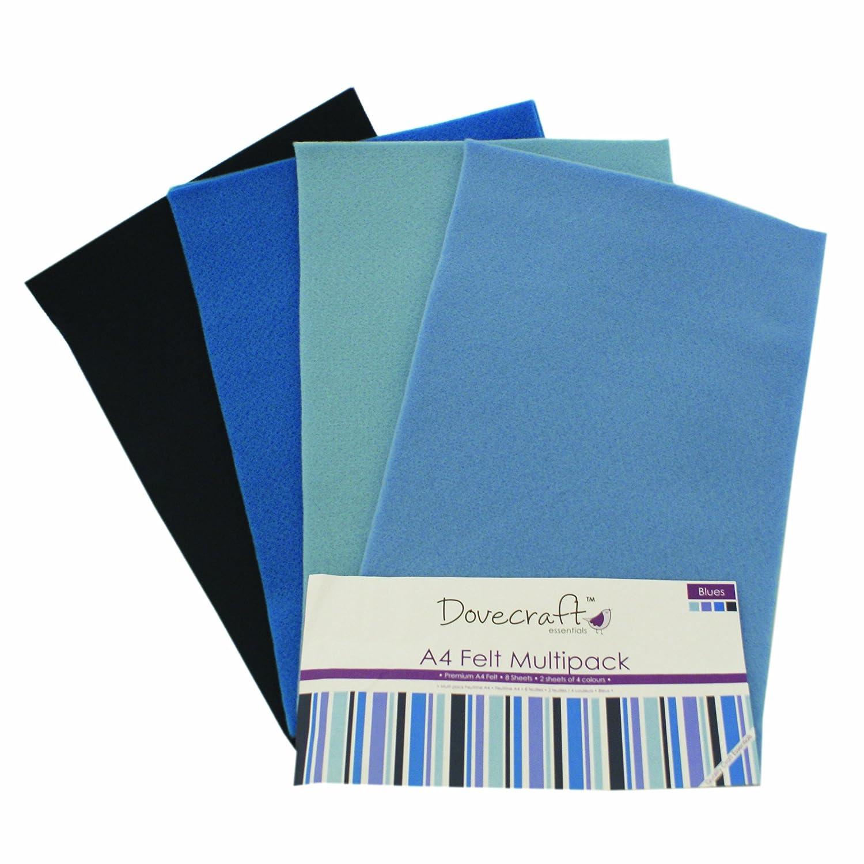 Unbekannt Dovecraft Essentials - A4 Premium Farbiger Bastelfilz - Blau (8er Packung, 4 Designs) Trimcraft DCFL019