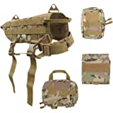 HBuir Tactical Dog Training Molle Vest Harness With Detachable Pouches