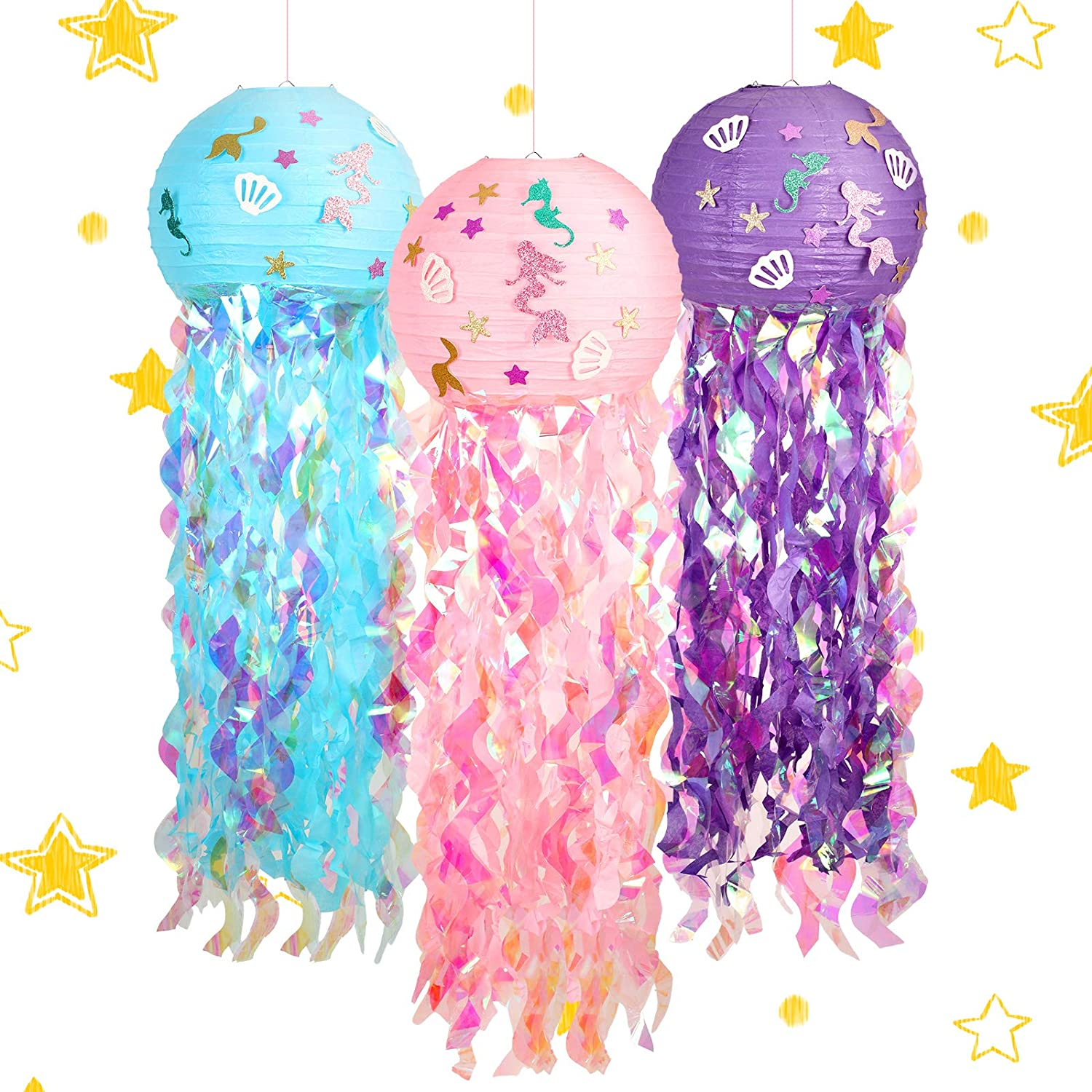 3 Pieces Mermaid Paper Lanterns Mermaid Glitter Hanging Jellyfish Paper Lanterns Mermaid Themed Party Decorations for Child Birthday Indoor and Outdoor Undersea Event Party (Purple, Pink, Blue)