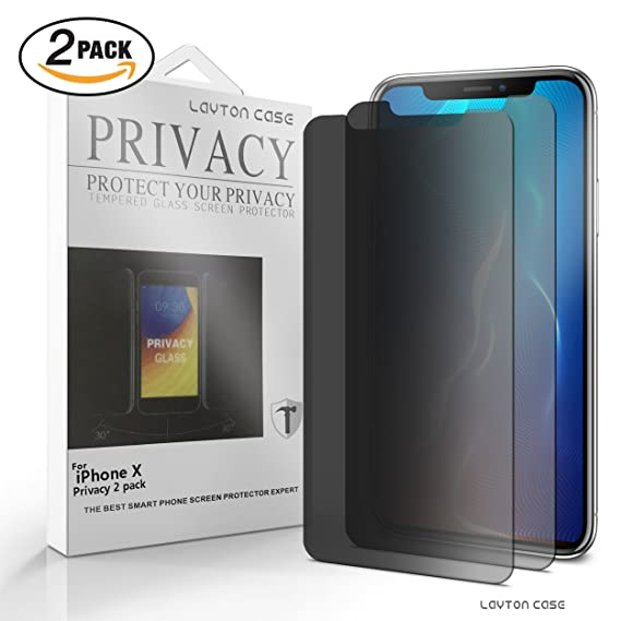 factory authentic 7445c e06ba iPhone X Privacy Premium Screen Protector Anti-Spy/Peep/Fingerprint 9H  Tempered Glass Scratch Proof Apple iPhone 10 No Bubble Case Friendly [2  PACK]