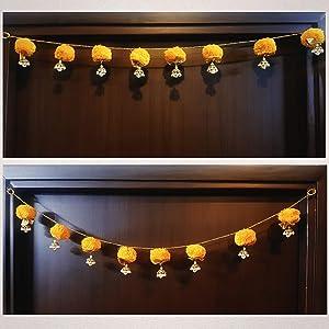 Decorative Buckets Bandhanwar|Torans for Diwali Decorations|toran for Door|Indian Door Hanging|Handmade Door Hanging/Wall Hanging/Door Valance|Marigold Garland|Indian Wedding Decorations|Diwali décor