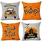 pinata Halloween Pillow Covers 18x18, Pumpkin Throw Pillow Cover, Decorative Cotton Linen Pillowcase for Sofa, Couch…