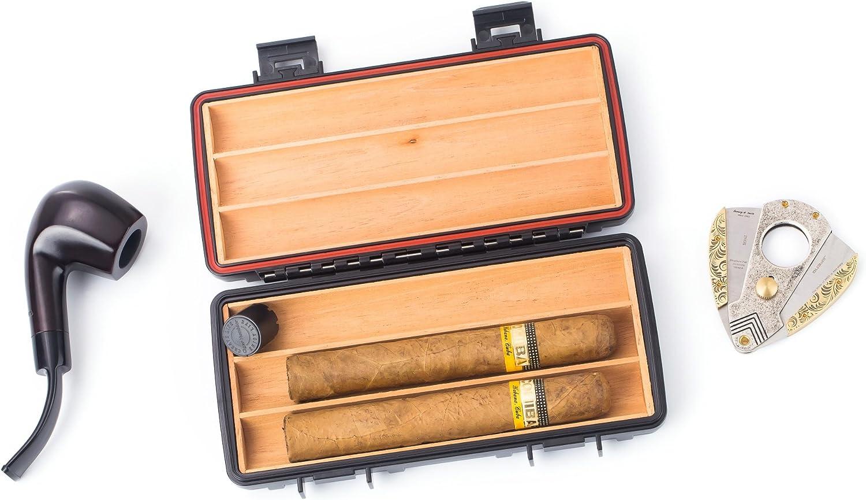 negro resistente y a prueba de golpes Eono Essentials hecho de madera de cedro impermeable con capacidad para 3 puros Humidor de viaje para puros herm/ético