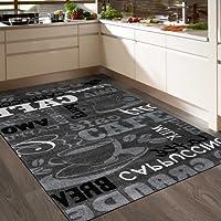 VIMODA Teppich Modern Sisal Optik Küchenteppich Küchenläufer Coffee Grau Weiss Schwarz Töne spiegelverkehrt, Maße:80x250 cm