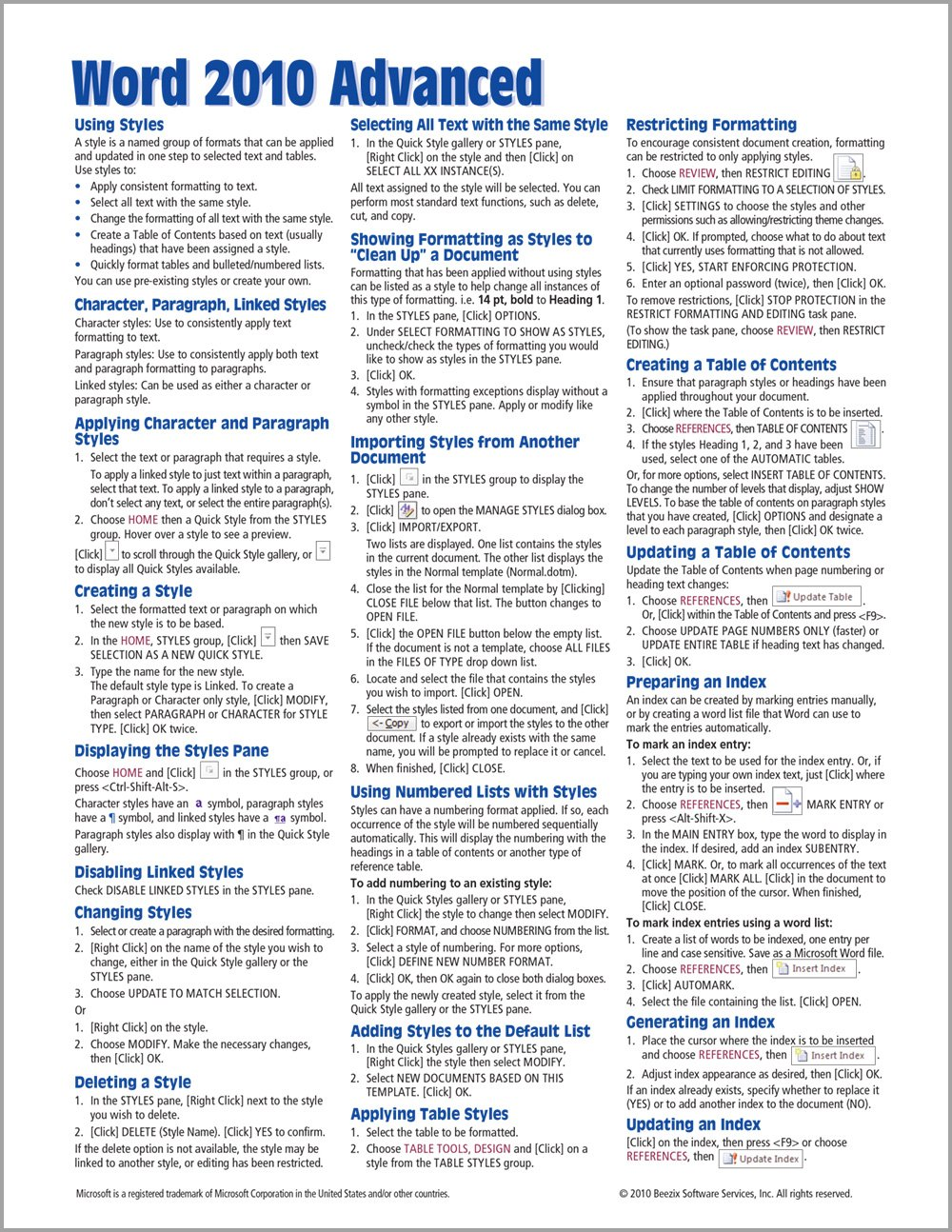 Download Microsoft Word 2010 Advanced Quick Reference Guide (Cheat Sheet of Instructions, Tips & Shortcuts - Laminated Card) PDF