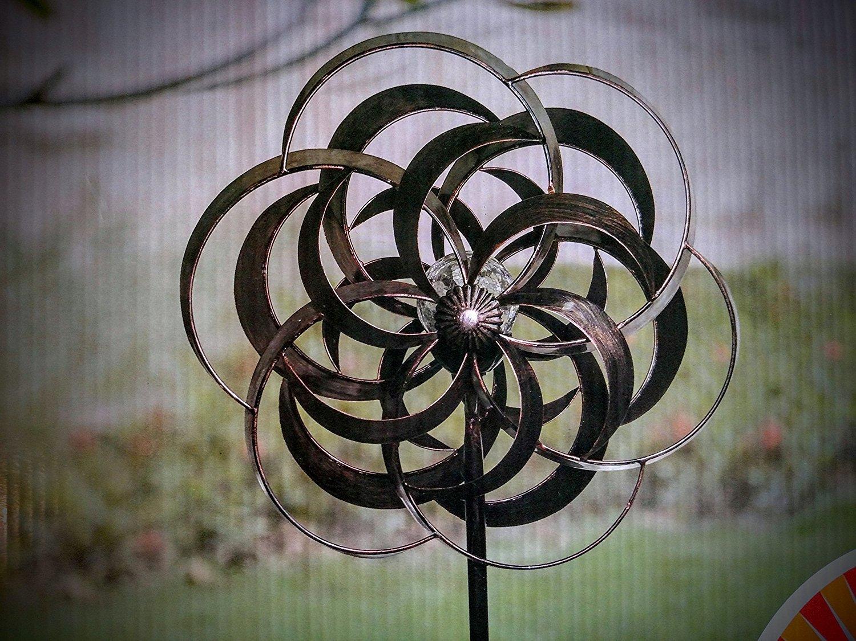 """80"""" Antique Black / Bronze Solar Wind Spinner Stake / Color-Changing Led Light"""