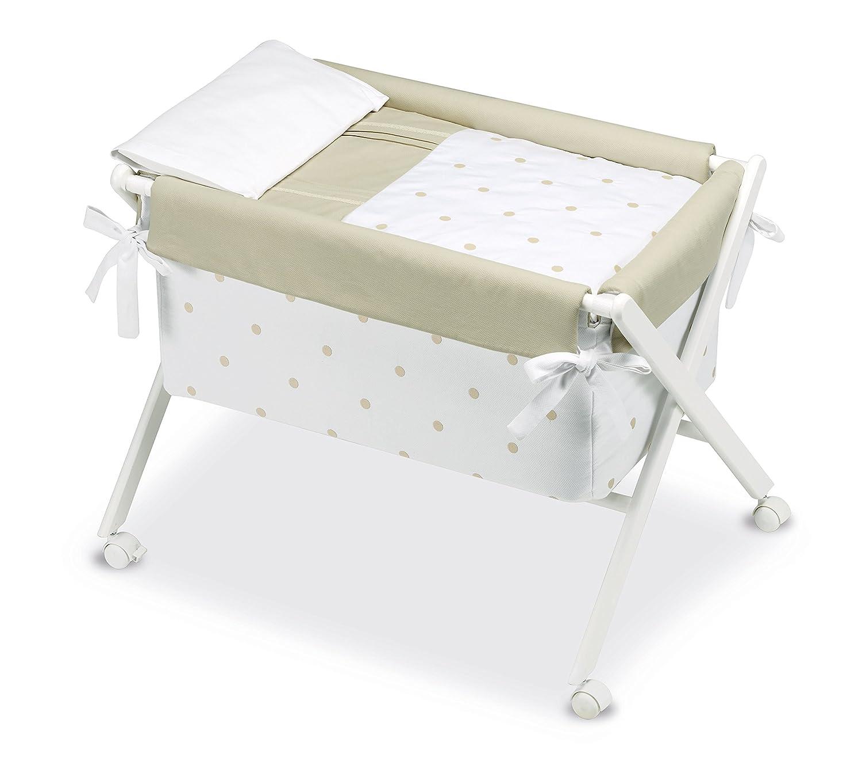 Kinder Romantic–minicuna, 68x 90x 71cm, Farbe: weiß und Leinen