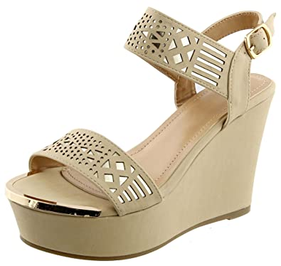 4425609902aa6 Top Beige Block Mid Sized Heel Prime Sandal with Buckle Open Caged Cutout  Dressy Comfortable Modern