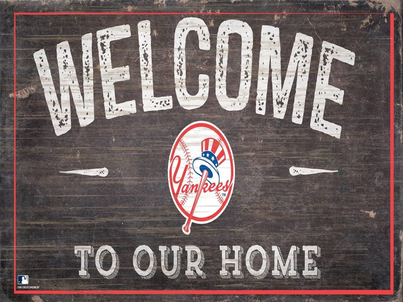 "Fan Creations Yankees 12"" x 6"" Distressed Welcome to Our Home Wood Sign"