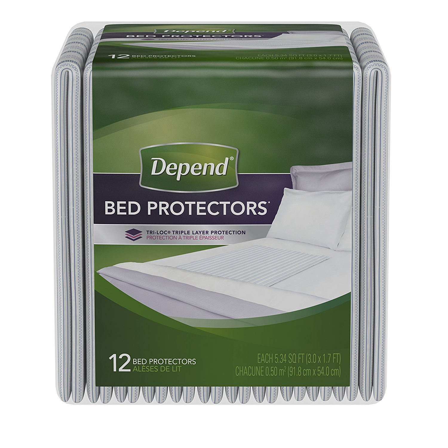 PACK OF 3 - Depend Incontinence Bed Protectors, Disposable Underpad, Overnight Absorbency, 12 Count