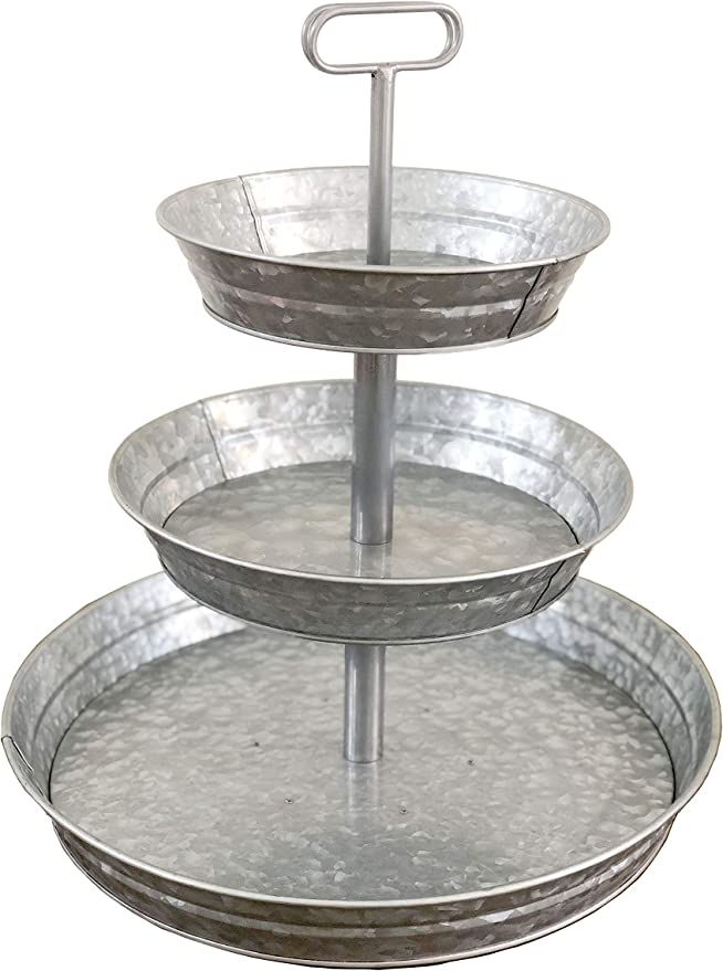 3 Tier Galvanized Metal Stand Large Twin Handle Farmhouse Style Serving Tray Perfect For Rustic Vintage Decoration In Kitchen And Dining Room Serving Trays Amazon Com