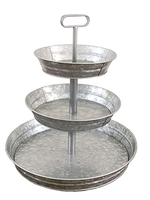 Fine Brown Moo Decor 3 Tier Galvanized Metal Stand Large Twin Handle Farmhouse Style Serving Tray Perfect For Rustic Vintage Decoration In Kitchen And Ibusinesslaw Wood Chair Design Ideas Ibusinesslaworg