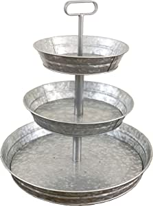 3 Tier Galvanized Metal Stand (Large) Twin Handle Farmhouse Style Serving Tray   Perfect for Rustic, Vintage Decoration in Kitchen and Dining Room