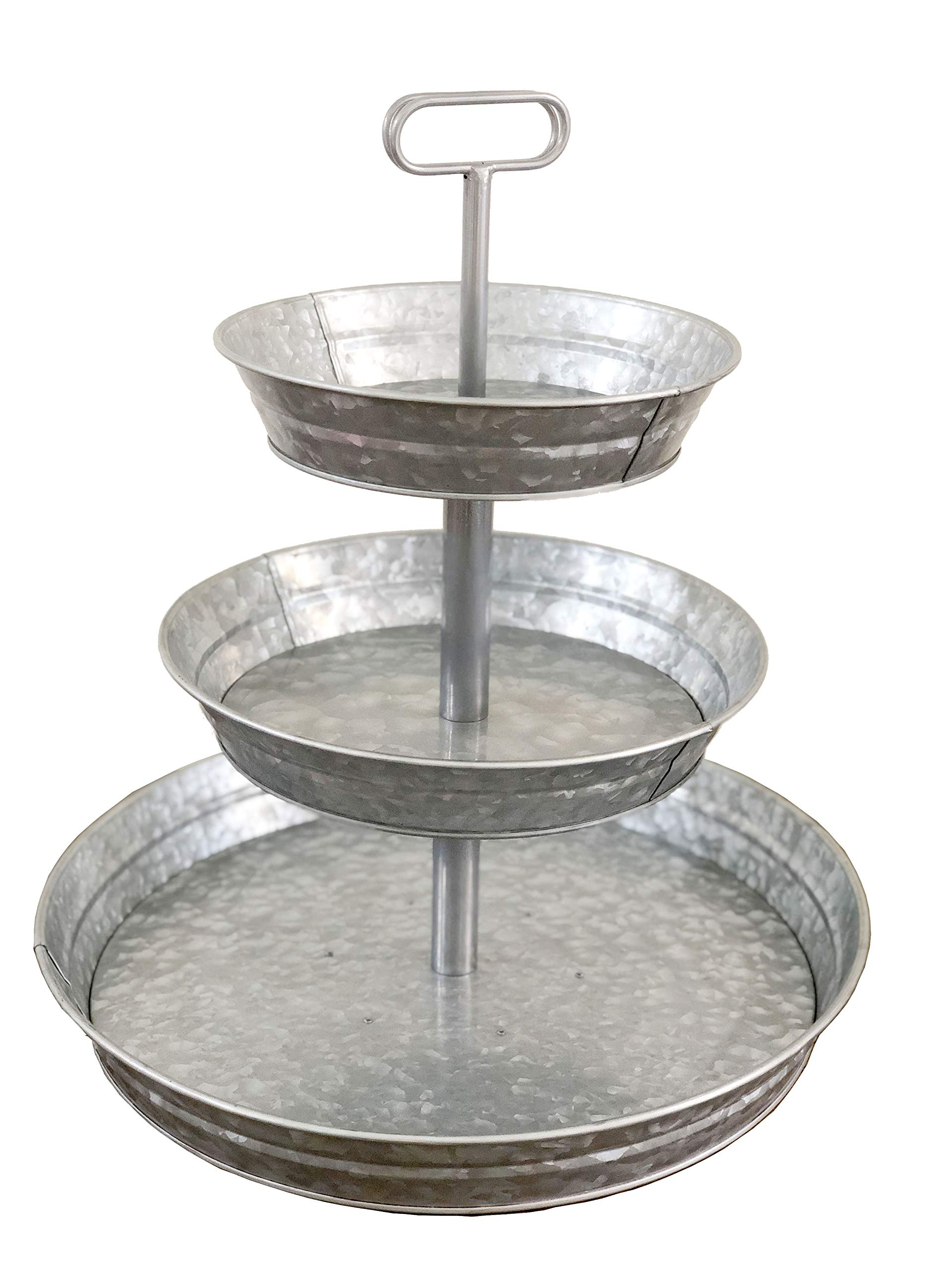 Brown Moo Decor 3 Tier Galvanized Metal Stand (Large) Twin Handle Farmhouse Style Serving Tray | Perfect for Rustic, Vintage Decoration in Kitchen and Dining Room