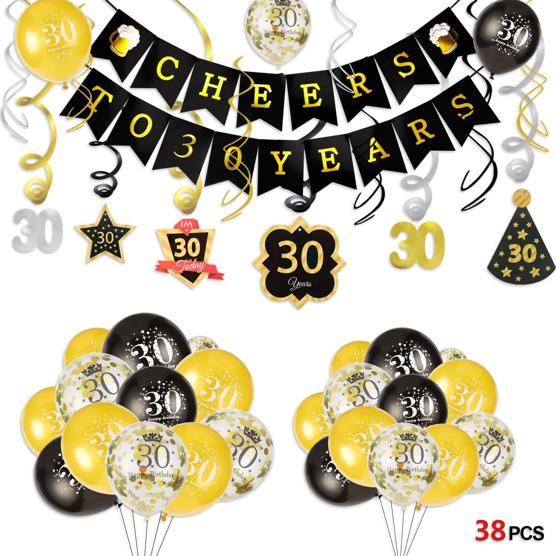 Howaf 30 Decoración para Fiestas de Cumpleaños en Negro y ...