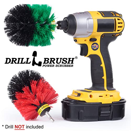 Cleaning Supplies - Indoor/Outdoor Drill Brush Power Scrubber Kit - Kitchen Accessories - Grout Cleaner - Cast Iron Skillet - Deck Brush - Bird Bath - Concrete Pools, Garden Statuary, Headstones